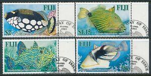 2005 FIJI TRIGGER FISH SET OF 4 FINE USED/CTO