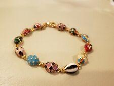 """Joan Rivers Goldtone Enamel Egg Ladybug Line Bracelet 7.5"""" NEW"""