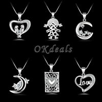 Fashion Women Lady Heart 925 Sterling Silver Pendant Necklace Chain Jewelry Gift