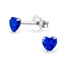 Heart Cz Kids Girl Stud Earrings 925 Sterling Silver Tiny Sapphire Heart Love
