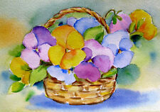 Pansies in Basket  Stillife  Original  Watercolor Vintage Flower Painting