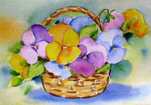 Pansies in Basket  Stillife  Original  Watercolor Vintage Flower Painting