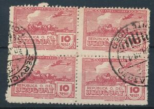 [7145] Uruguay 1939-44 airmail stamps VF used perf 11 bloc of 4 val $325