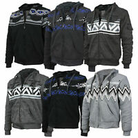 EKZ Men's Geo Tribal Fleece Zip Up Sherpa Lined Graphic Hoodie Jacket