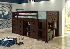 Loft Bed with Storage, Bookshelves, and Dresser in One