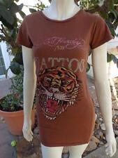 ED HARDY Small / Medium Blouse Top Shirt Brown Animal Print Tiger 100% Cotton