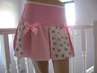 Baby Pink Skirt skater Adult White check Lolita Party Festival Hen Cosplay Dance