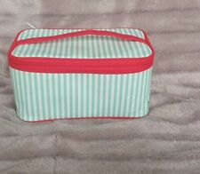 Clinique Green & White Striped Vanity Makeup/Cosmetics Bag