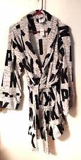 VICTORIAS SECRET Pink Gray Plush Short Belted Robe Size M/L Retail $54. NWT