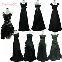 Cherlone Satin Black Ball Lace Bridesmaid Formal Prom Wedding/Evening Gown Dress