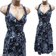KAREN MILLEN NAVY FANTASY GARDEN CORSET HALTER NECK TORSO COCKTAIL DRESS 10 UK
