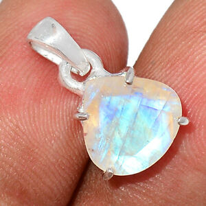 Faceted Rainbow Moonstone - India 925 Sterling Silver Pendant Jewelry BP105280