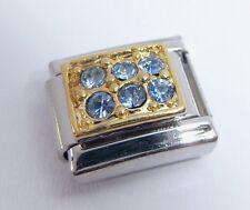 Blue Gemas Oro Rectángulo encanto italiano 9mm-se adapta Classic pulseras de marzo N82
