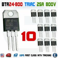 10pcs Bta24 800 Triac Thyristor 25a 800v St Bta24 800bw To 220