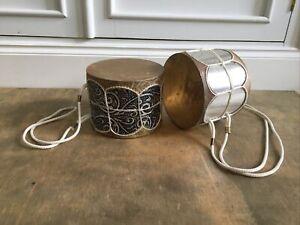 Vintage Pair of Small Drums Silver Decorative Boho Tiki