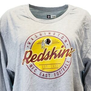 Washington Redskins Women's NFL Long Sleeve T Shirt Grey Plus Size 1x 2x 3x 4x