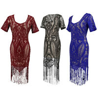 Women Flapper Dresses 1920s Great Gatsby V Neck Beaded Fringed Fancy Dress