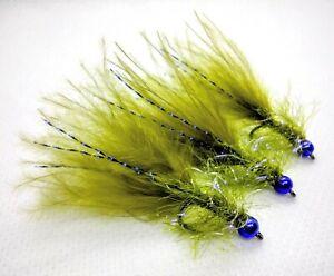 3 x Blue Flash Damsel Fly Olive Marabou UV Fritz Lure Metallic Blue Bead Size 10