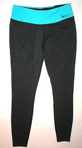 NWT Womens New Nike Leggings Pants Gray Aqua Blue Run Yoga Pilates Barre Gym M