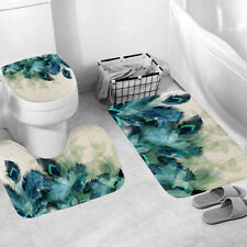 3PC Anti-Slip Bathroom Peacock Feather Shower Curtain Bath Mat Toilet Lid Cover