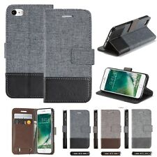 Canvas Leather Magnetic Case Cover Stand For iPhone Samsung Sony Huawei Phones