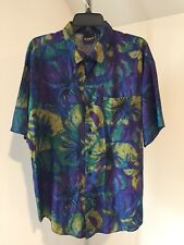 Vtg Men Hutspah Retro Hawaiian Short Sleeve Shirt Floral Large L