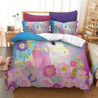 Unicorn Floral Single/Double/Queen/King Size Bed Quilt/Doona/Duvet Cover Set