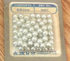 Gioielli Perle Rotondo - 40g Argento Perlescenti ROUND Beads-NUOVO