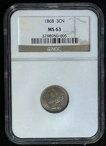 1868 Three Cent Piece Nickel Certified By NGC MS 63