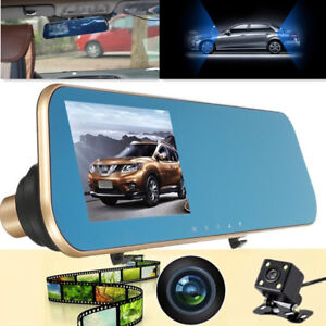 "Mirror Dual Lens Monitor Full 4.3"" LCD Car DVR Rear View Camera Driving Recorder"