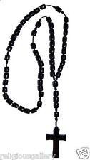 Men's Solid Black Wood Bead Rosary Cross Catholic Crucifix Necklace, Large