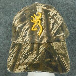 BROWNING Camouflage Base Ball Cap Hat Yellow Buckmark Logo Strapback Hunting