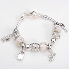 XMAS wholesale solid Silver European Murano Glass Bead Charm Bracelet +Box XB094