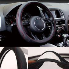 38CM Universal Black red line Car Truck Steering Wheel cover microfiber leather