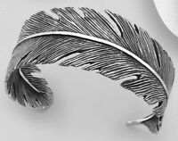 Solid Sterling Silver Cuff Bangle Bracelet Eagles Feather 30.14g Native Indians