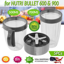 5Pc for Nutri Bullet 600W-900W Series Replacement Parts Kit - Cups Blade Ring Us