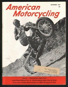 1961 November American Motorcycling - Motorcycle Magazine with Harley Centerfold