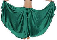 HUNTER GREEN Women Satin Full Circle Skirt Belly Dancing Costume Tribal Gypsy