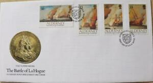 """Alderney Stamps: """"The Battle of La Hogue"""" - First Day Cover 1992"""