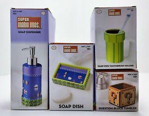 Super Mario Bathroom Set (Tumbler+Soap Dish+Dispenser+Toothbrush Holder) New!