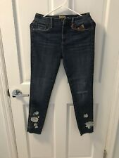 Free People Driftwood Embroidered Skinny Jeans Size 26 Sundance Catalog