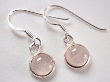 Very Small Rose Quartz 925 Sterling Silver Dangle Earrings Corona Sun Jewelry
