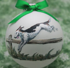 rD071 Hand-made Christmas Ornament dog - American Foxhound - jumping fence left