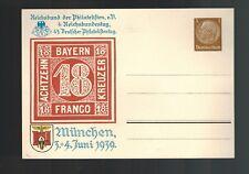 Mint 1939 Bayern Munich Germany Achtzehn Kreuzer Philatelic Postcard Cover
