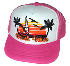 Kids Toddler Beach Vibes Pink Summer  Snapback Mesh Trucker Hat Cap  3-7