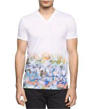 Calvin Klein Men's Graphic Print V-Neck T-Shirt, White Combo,  Size XL, MSRP $45