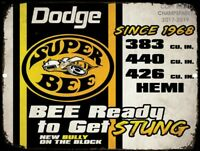 "Vintage Dodge Plymouth SUPER BEE Hemi 9""x12"" Metal Tin Aluminum Sign"