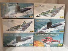 6x Heller Modellbausatz / Lot of 6x Model Kit: Löschhubschrauber, Viggen, U-Boot