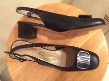 Women's Salvatore Ferragamo Boutique Low Heel Slingback Pumps Blue Shoes  7.5 AA