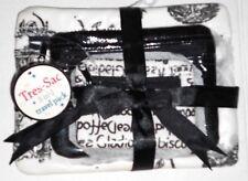 Vintage Cute 3 Pc Set Makeup Bag Black White Print Travel Pack Tres Sac Gift